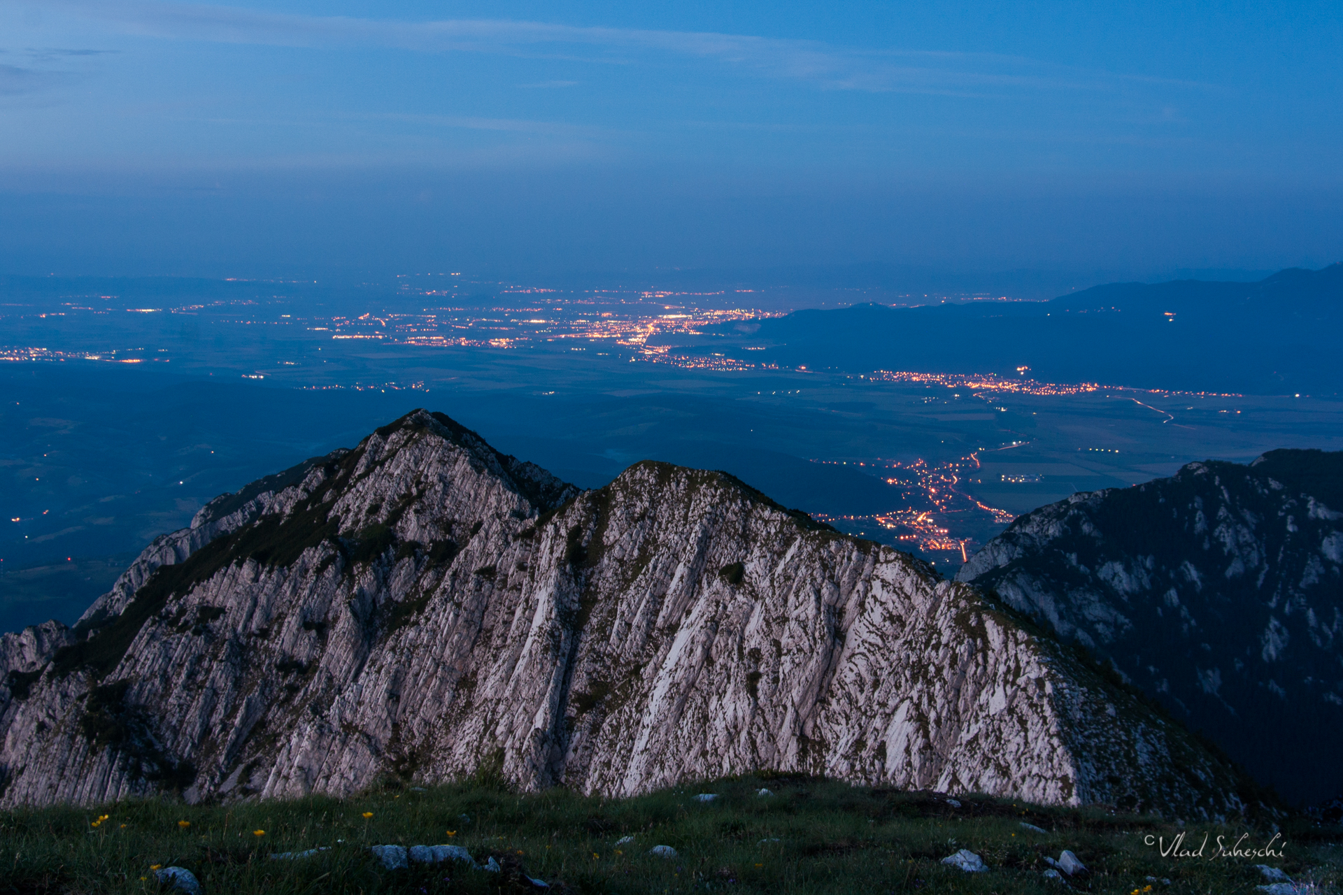 City Lights in Piatra Craiului Mountains The Carpathians Romania