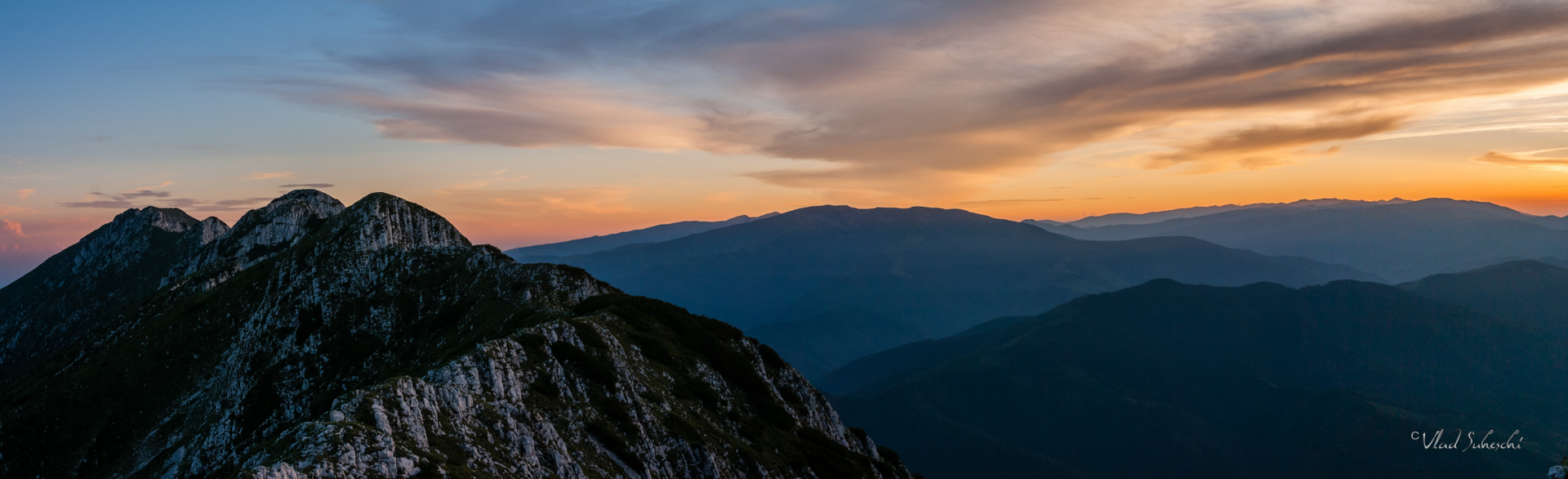 Sunset in Piatra Craiului Mountains, The Carpathians, Romania
